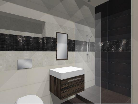 Projekt łazienki Z Glazury Adore Atlas Concorde Biało Czarna